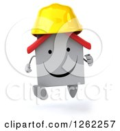 Clipart Of A 3d White House Contractor Running Royalty Free Illustration