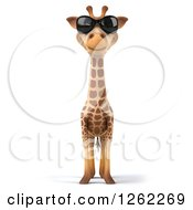 Clipart Of A 3d Giraffe Wearing Sunglasses Royalty Free Illustration by Julos