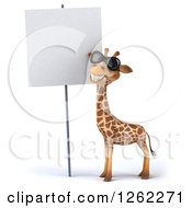 Clipart Of A 3d Giraffe Wearing Sunglasses By A Blank Sign Royalty Free Illustration