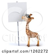Clipart Of A 3d Giraffe Wearing Sunglasses By A Blank Sign Royalty Free Illustration by Julos