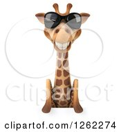 Clipart Of A 3d Giraffe Wearing Sunglasses Over A Sign Royalty Free Illustration by Julos