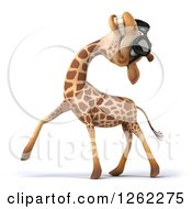 Clipart Of A 3d Giraffe Wearing Sunglasses And Laughing Royalty Free Illustration by Julos