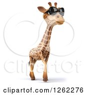 Clipart Of A 3d Giraffe Wearing Sunglasses And Walking Royalty Free Illustration by Julos