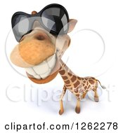 Clipart Of A 3d Closeup Of A Giraffe Wearing Sunglasses Royalty Free Illustration by Julos