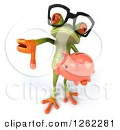 Clipart Of A 3d Bespectacled Green Springer Frog Holding A Piggy Bank And Giving A Thumb Down Royalty Free Illustration