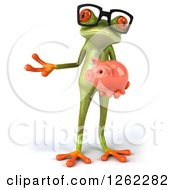 Clipart Of A 3d Bespectacled Green Springer Frog Holding A Piggy Bank And Presenting Royalty Free Illustration