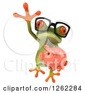 Clipart Of A 3d Bespectacled Green Springer Frog Leaping With A Piggy Bank Royalty Free Illustration