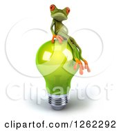 Clipart Of A 3d Green Springer Frog Sitting On A Green Light Bulb Royalty Free Illustration