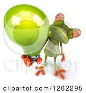 3d Green Springer Frog Holding Up A Green Light Bulb