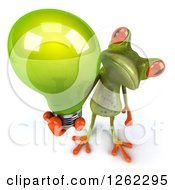 Clipart Of A 3d Green Springer Frog Holding Up A Green Light Bulb Royalty Free Illustration