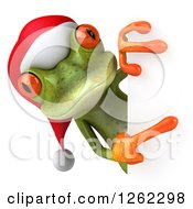 Clipart Of A 3d Green Christmas Springer Frog Pointing Around A Sign Royalty Free Illustration