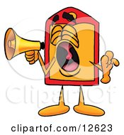 Price Tag Mascot Cartoon Character Screaming Into A Megaphone