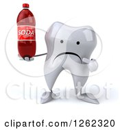 Clipart Of A 3d Unhappy Tooth Character Holding And Pointing To A Soda Royalty Free Illustration