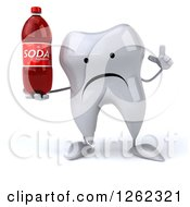 Clipart Of A 3d Unhappy Tooth Character Holding A Soda Royalty Free Illustration