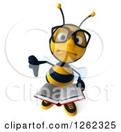 Clipart Of A 3d Bespectacled Bee Character Holding A Thumb Down And A Book Royalty Free Illustration