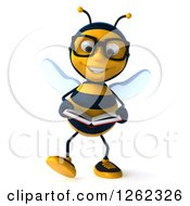 Clipart Of A 3d Bespectacled Bee Character Walking And Reading A Book Royalty Free Illustration
