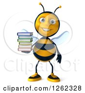 Clipart Of A 3d Bee Character Holding A Stack Of Books Royalty Free Illustration