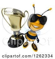 Clipart Of A 3d Bee Character Wearing Sunglasses And Holding Up A Trophy Royalty Free Illustration