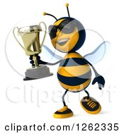 Clipart Of A 3d Bee Character Wearing Sunglasses And Walking With A Trophy Royalty Free Illustration