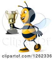 Clipart Of A 3d Bee Character Holding A Trophy Royalty Free Illustration