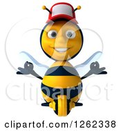 Clipart Of A 3d Meditating Bee Character Wearing A Baseball Cap Royalty Free Illustration