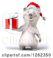 Clipart Of A 3d Christmas Polar Bear Holding A Gift Royalty Free Illustration by Julos