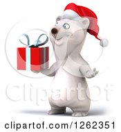 Clipart Of A 3d Christmas Polar Bear Holding A Gift Royalty Free Illustration