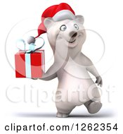 Clipart Of A 3d Christmas Polar Bear Walking With A Gift Royalty Free Illustration