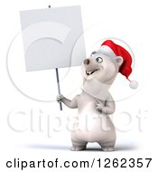 Clipart Of A 3d Christmas Polar Bear Holding And Pointing To A Blank Sign Royalty Free Illustration