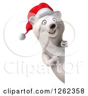 Clipart Of A 3d Christmas Polar Bear Pointing Around A Sign Royalty Free Illustration