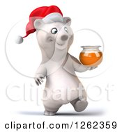 Clipart Of A 3d Christmas Polar Bear Walking With Honey Royalty Free Illustration