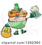 Clipart Of A Leprechaun St Patricks Day Holiday Cupcake Holding A Beer And Gold Royalty Free Vector Illustration