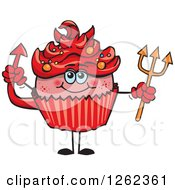 Clipart Of A Devil Halloween Holiday Cupcake Holding A Pitchfork Royalty Free Vector Illustration by Dennis Holmes Designs
