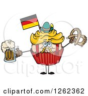 Clipart Of A German Oktoberfest Holiday Cupcake Holding A Beer And Pretzel Royalty Free Vector Illustration