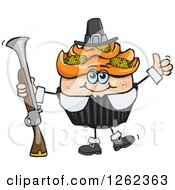 Clipart Of A Pilgrim Thanksgiving Holiday Cupcake Holding A Musket Royalty Free Vector Illustration