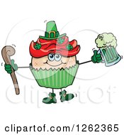 Clipart Of A Leprechaun St Patricks Day Holiday Cupcake Holding A Beer And Cane Royalty Free Vector Illustration