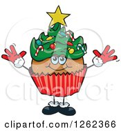 Clipart Of A Christmas Tree Holiday Cupcake Royalty Free Vector Illustration by Dennis Holmes Designs
