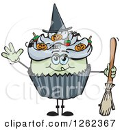 Clipart Of A Witch Halloween Holiday Cupcake Holding A Broom Royalty Free Vector Illustration