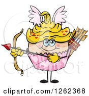 Clipart Of A Cupid Valentines Day Holiday Cupcake Holding A Bow Royalty Free Vector Illustration by Dennis Holmes Designs