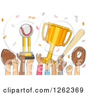 Clipart Of Hands Of Baseball Team Players Celebrating Victory Royalty Free Vector Illustration by BNP Design Studio
