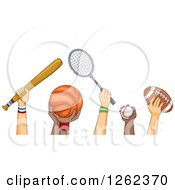 Clipart Of Hands Of Athletes Holding Sports Equipment Royalty Free Vector Illustration by BNP Design Studio