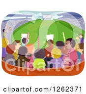 Clipart Of A Rear View Of Fans In The Bleachers At A Stadium Royalty Free Vector Illustration by BNP Design Studio