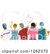 Clipart Of A Rear View Of A Group Of Sports Fans Royalty Free Vector Illustration by BNP Design Studio