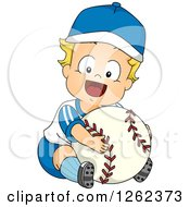 Clipart Of A Blond White Toddler Boy Hugging A Giant Baseball Royalty Free Vector Illustration by BNP Design Studio