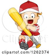 Clipart Of A Red Haired White Toddler Girl Hugging A Baseball Bat Royalty Free Vector Illustration