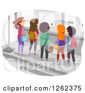 Clipart Of A Group Of Students Gathered At A Bulletin Board Royalty Free Vector Illustration