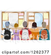 Clipart Of A Rear View Of High School Students At A Bulletin Board Royalty Free Vector Illustration by BNP Design Studio