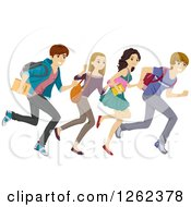 Clipart Of A Group Of High School Students Running Royalty Free Vector Illustration