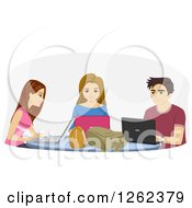 Clipart Of High School Students Using Laptops Royalty Free Vector Illustration by BNP Design Studio