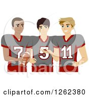 Clipart Of Three High School Football Players Royalty Free Vector Illustration